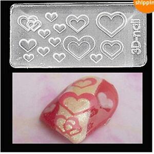 Heart shape 3d acrylic nail mold nail art decoration nail for 3d acrylic nail art mold diy decoration
