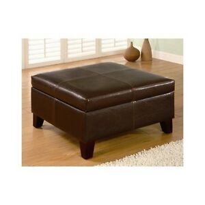 Large Brown Storage Ottoman Faux Leather Fabric Coffee Table Cocktail Bench Seat