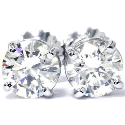 1 Carat Diamond Stud Earrings - 14K White Gold 1/2 Carat Natural Round Diamond 4-Prong Stud Earrings