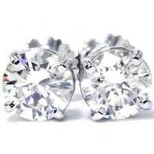 14K White Gold 1/2 Carat Natural Round Diamond 4-Prong Stud Earrings