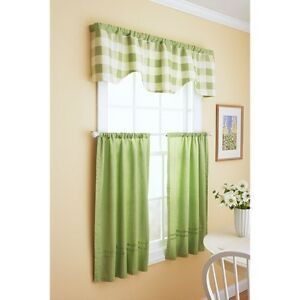 New Better Homes And Gardens Reversible Checks Solids Kitchen Curtain Set Green Ebay