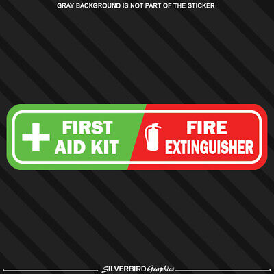 First Aid / Fire Extinguisher vehicle emergency sticker decal caution safety kit Fire Safety Kit