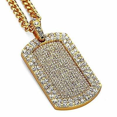 - Mens New Iced Out Hip Hop Full CZ Dog Tag Pendant Franco Chain Necklace 24in