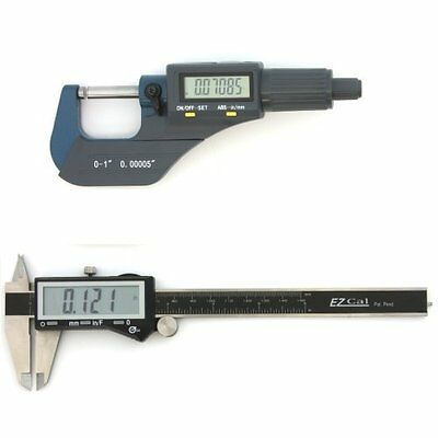 Digital Electronic Micrometer Caliper Set Machinist Inspection Tool Kit New