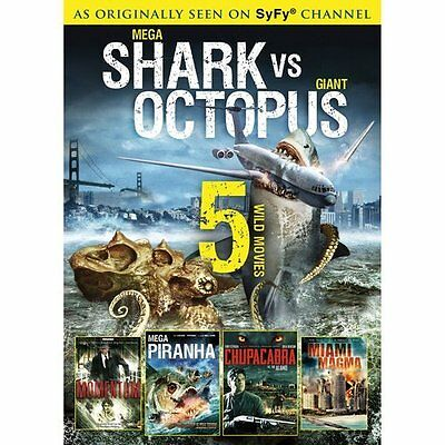 Syfy Shark Movies (SyFy CHANNEL: Mega Shark vs Giant Octopus-Piranha-Miami Magma-Momentum-NEW)