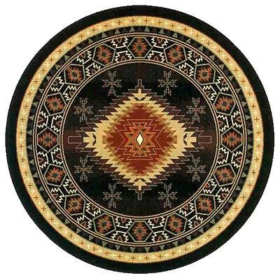 """8x8  Round  Area Rug  Southwest  Southwestern Southern Medallion Black Size 7'6"""""""