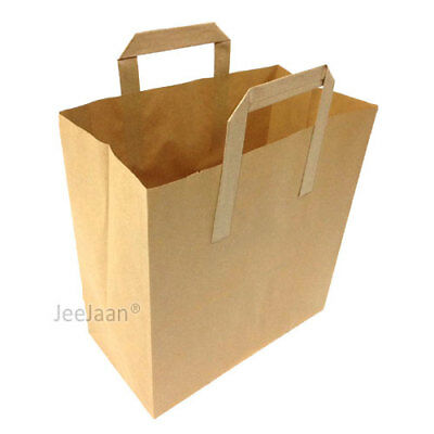 100x White Paper Carrier Bags with Flat Handles 18cm x 23cm x 9cm by Paper Carrier Bags