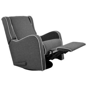 Kidiway Alice Rocking Glider - Dark Charcoal (family color grey) White Piping *new in box*