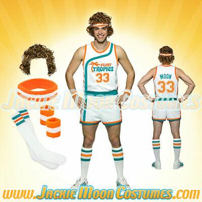 Jackie Moon Semi-Pro Jersey Shorts Wig Sweatbands Socks Halloween Costume