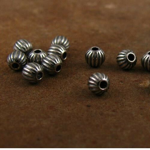 .925 STERLING SILVER 4mm ROUND CORRUGATED OXIDIZED BEADS #682224 - (10)