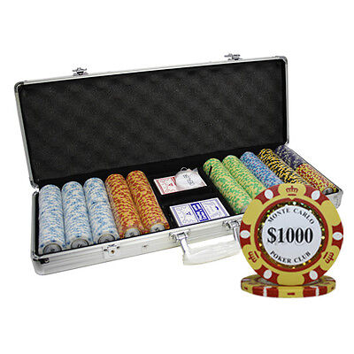 500pcs 14G MONTE CARLO CLAY POKER CHIPS SET 3-TONE