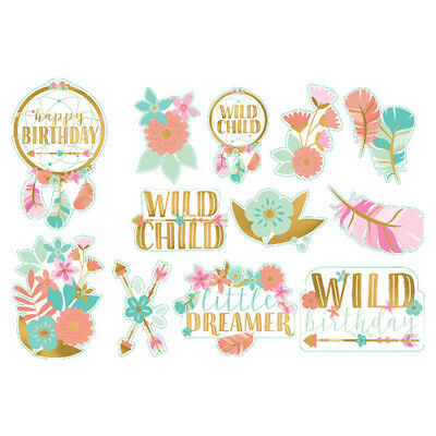 1st BIRTHDAY Boho Girl CUTOUT DECORATIONS (12) ~ Party Supplies Paper Pink Cute](Boho Birthday Party)
