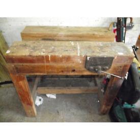 Antique Vintage Wooden Workbench