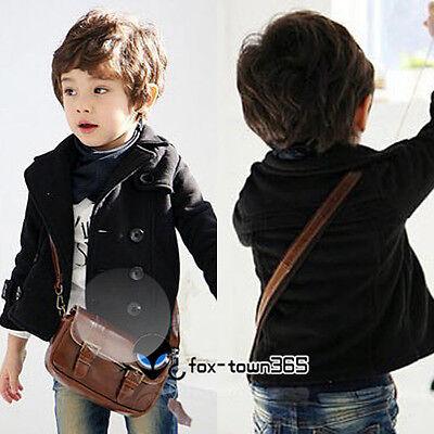 Autumn Child Toddler Kids Boys V neck breast Suit Coat Black Jackets Blazer 2-6Y