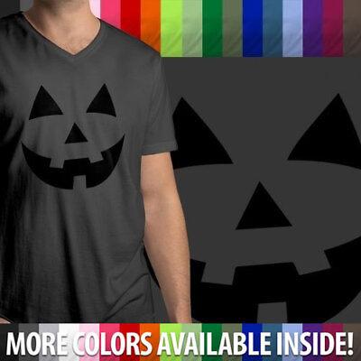 Halloween Pumpkin Jack O Lantern Face Funny Spooky Fun Mens Tee V-Neck T-Shirt - Halloween Pumpkin Funny Faces