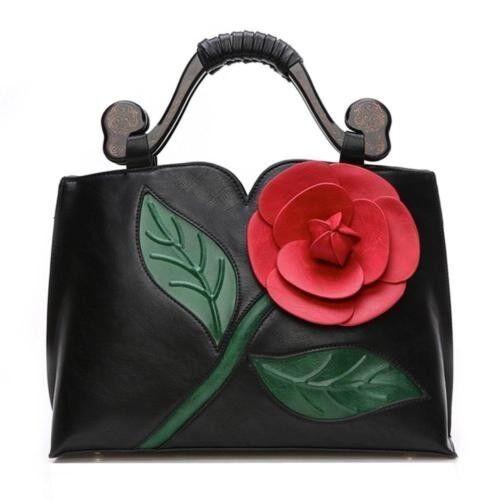 3d flower Handbag for women With Wooden Handle shoulder tote
