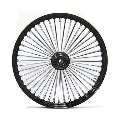 """Black/Chrome 48 King Spoke 21"""" x 2.15"""" Front Wheel for Harley and Custom Models"""