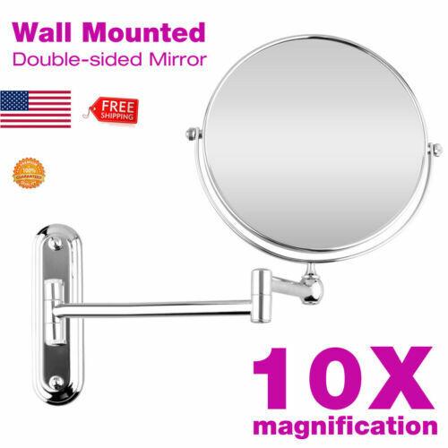 10X MAGNIFICATION EXTENDING MAKEUP MIRROR Wall Mount Shaving