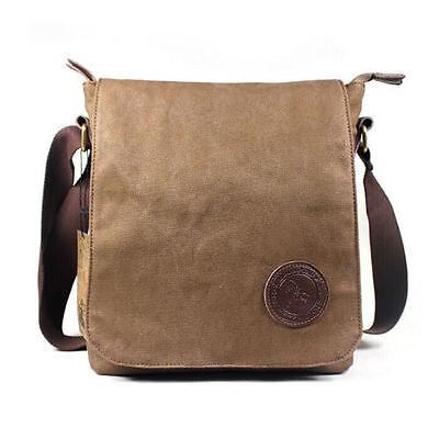 Men Vintage CanvasSatchel Military Laptop Shoulder Messenger Bag Brown US STOCK