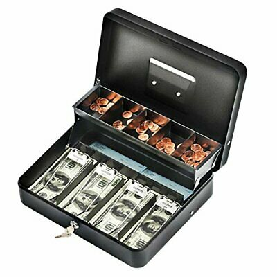 Cash Box With Money Tray Lock Large Steel 5 Compartment 2 Key Black Tiered