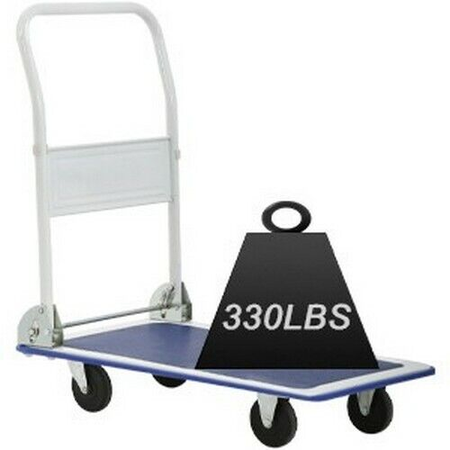 Flatbed Platform Cart Push Hand Truck Folding Dolly Moving Warehouse 330lbs