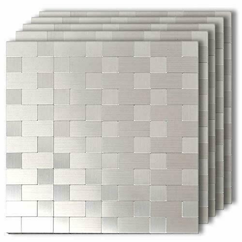 5Pieces Peel and Stick Metal Backsplash Tile Kitchen Bathoom Wall Mosaic Decor