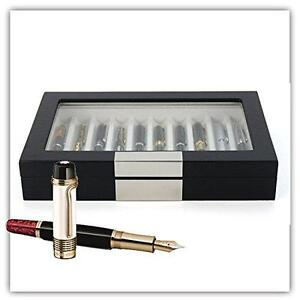 Decorebay Executive High class 10 Piece Black Wood Grain Fountain Pen Organizer Box with Glass Window (Crow)