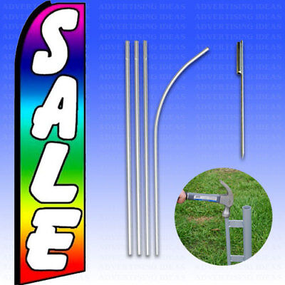 Feather Flag Swooper Advertising Flag Banner Sign 15 Tall Kit - Sale Rainbow