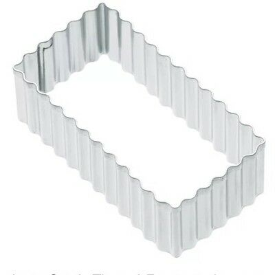 Kitchen Craft Fluted Rectangle 8cm Biscuit, Pastry, Cookie Cutter Fluted Pastry Cutter