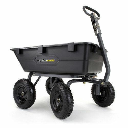 Gorilla Poly Yard Dump Cart Heavy Duty 1200 lbs Weight Capacity 4-Wheeled Wagon