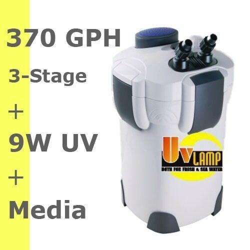 100 Gal 3 STAGE EXTERNAL CANISTER AQUARIUM FILTER BUILT-IN 9 WATT UV with Media