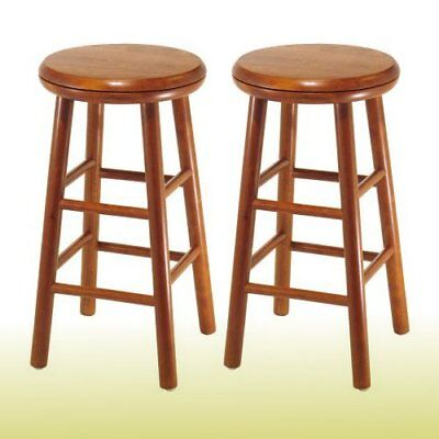 24in Beech Wood Stool 2pc Set Chair Dining Round Swivel Seat Kitchen Furniture