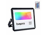 NEW 30W LED RGB Floodlight Outdoor, bapro Flood Light with Remote Control 16 Colours 4 Modes