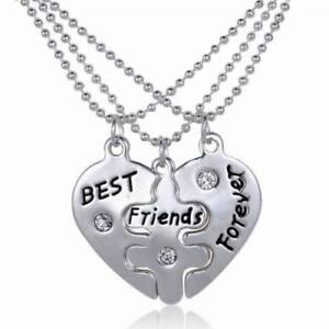 New 3pcs BFF Best Friends Forever Heart Friendship Pendant Choker Necklace Chain
