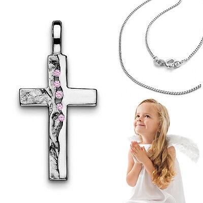 Mädchen Kinder Taufe Kommunion Zirkonia pink Kreuz Anhänger mit Kette Silber Neu