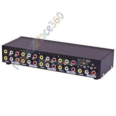 AV Splitter 8 Port Composite Video Audio 3 RCA Splitter Mirror Screen -