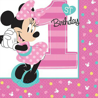 Minnie Mouse Napkins (MINNIE MOUSE Fun to Be One SMALL NAPKINS (16) ~ 1st Birthday Party Supplies)