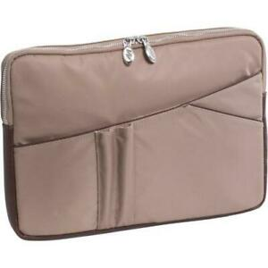 McKleinUSA Crescent 1833 Carrying Case (Sleeve) for 14 Notebook - Khaki - Nylon, Leather Trim, Metal Zipper - 9.6 Height