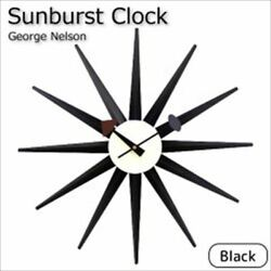 George Nelson Clock Designer Wall Clock Sunburst clock Black From Japan New FS