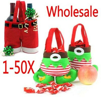 50X XMAS Santa Pants Elf Spirit Boots Candy Gift Bag Sack Stocking Filler A - Gift Sack