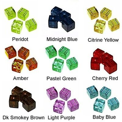 WHOLESALE GLASS BEADS SQUARE CUBE 9 COLORS GREEN RED BLUE AMBER BEAD 6MM OR 4MM (6 Mm Square Green)