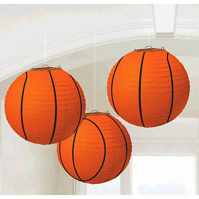 BASKETBALL PAPER LANTERN DECORATIONS (3) ~ Birthday Party Supplies Sports NBA  (Basketball Birthday Supplies)