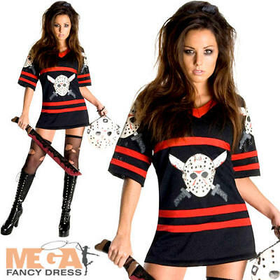 Miss Voorhees Ladies Fancy Dress Halloween Horror Friday 13th Womens Costume New (Ladies Friday 13th Halloween Costume)