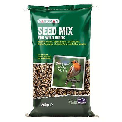 20kg Gardman Standard Oil Rich Seed Mix - Garden Wild Bird Sunflower Feed Blend