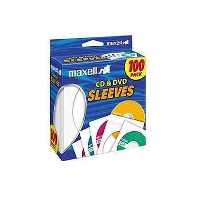 Maxell 190133 CD-402 CD/DVD Sleeves, 100-Pack, White