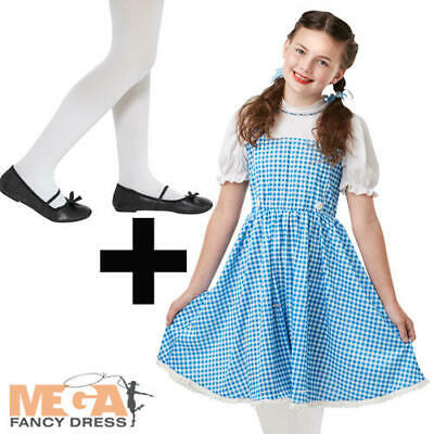 Dorothy Girls Fancy Dress + Tights Wizard Of Oz Kids World Book Day Costume