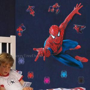 HUGE 110*90cm SPIDERMAN Wall Stickers Children Boys Bedroom Mural Wallpaper Art