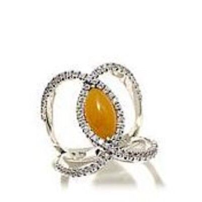 Jade of Yesteryear Marquise Yellow jade & CZ Sterling Negative Space Ring Sz 10