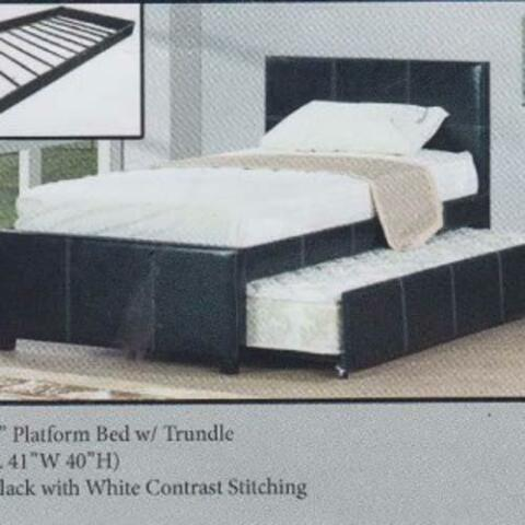 neuf lit plateforme noir ou blanc avec lit gigogne inclus beds mattresses laval north. Black Bedroom Furniture Sets. Home Design Ideas