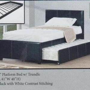 NEUF Lit plateforme NOIR ou BLANC avec lit gigogne inclus